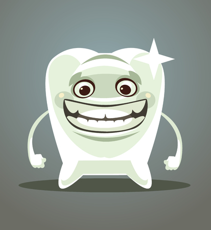 Happy smiling white tooth. Vector flat cartoon illustration