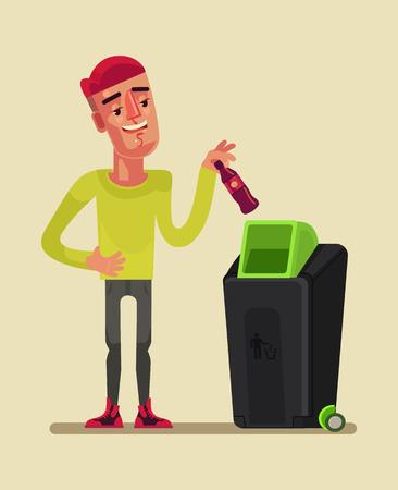 Man character throw garbage. Vector cartoon illustration Illustration