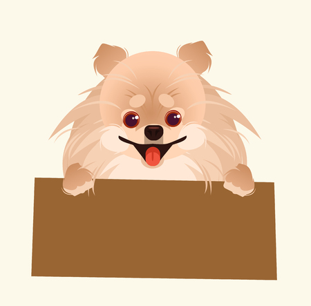 Little dog character with text place. Vector cartoon illustration Illustration