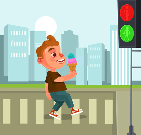 Pedestrian little boy character. Vector flat cartoon illustration