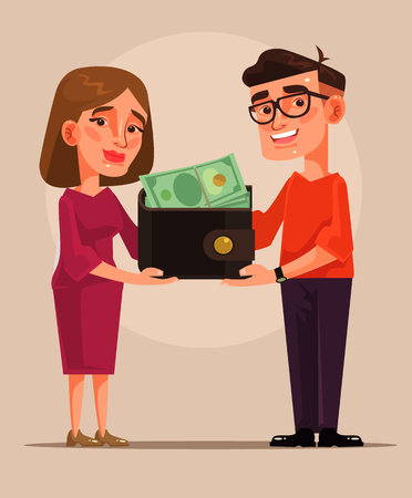 Young family budget cartoon illustration Çizim
