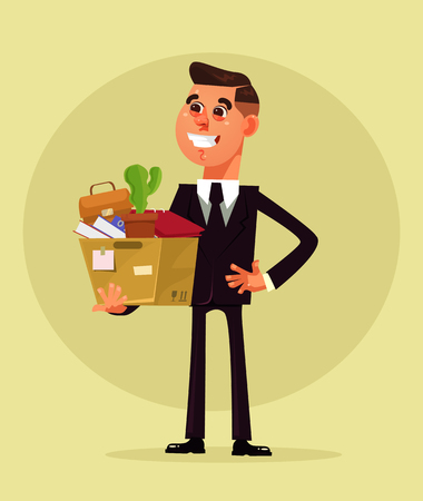 Happy smiling man character have new job. Vector flat cartoon illustration