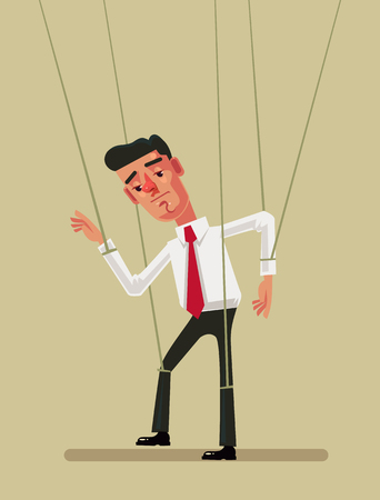 Puppet employee office worker man. Vector flat illustration