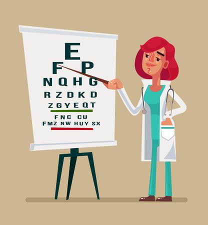 Woman doctor ophthalmologist character making test. Vector cartoon illustration Stock Illustratie