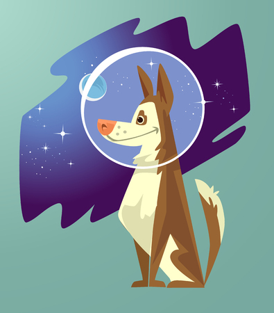 Space dog character in a cartoon illustration