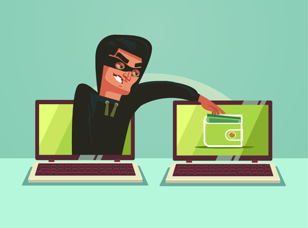 Computer hacker character stealing money online. Vector flat cartoon illustration