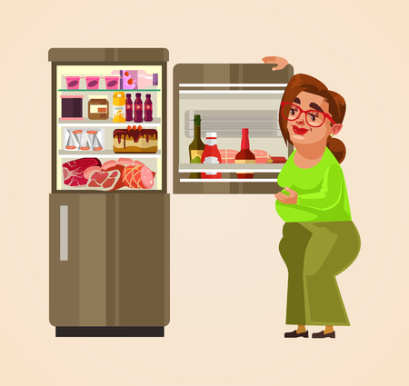 Woman character standing near refrigerator. Vector flat cartoon illustration