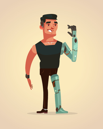 Man character with artificial parts of body. Vector cartoon illustration