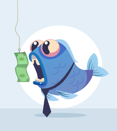 Business fish character in a cartoon illustration