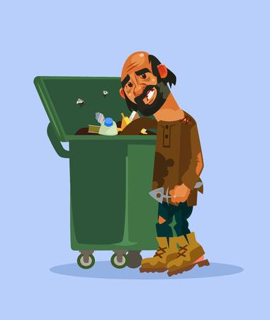 Homeless man character. Vector cartoon illustration Vettoriali