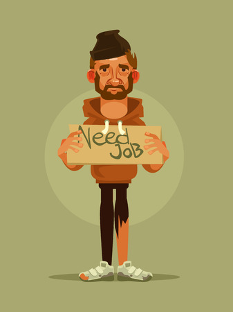 Man need job. Vector cartoon illustration  イラスト・ベクター素材