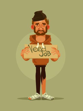 Man need job. Vector cartoon illustration Illustration
