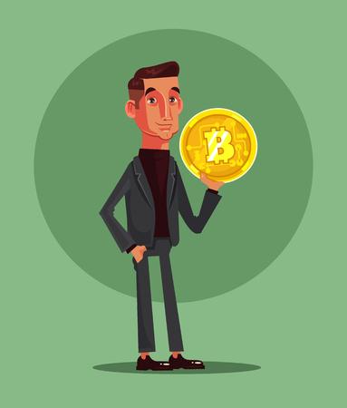 Happy smiling man character hold bitcoin. Vector flat cartoon illustration