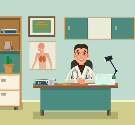 Doctor character waiting at reception. Vector flat cartoon illustration Stock Illustratie