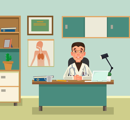 Doctor character waiting at reception. Vector flat cartoon illustration Vectores