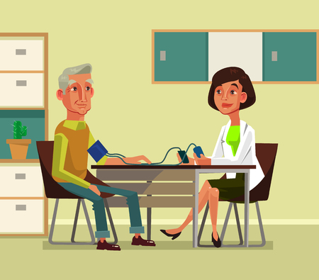 Woman doctor characterists pressure to old man. Vector flat cartoon illustration Vettoriali