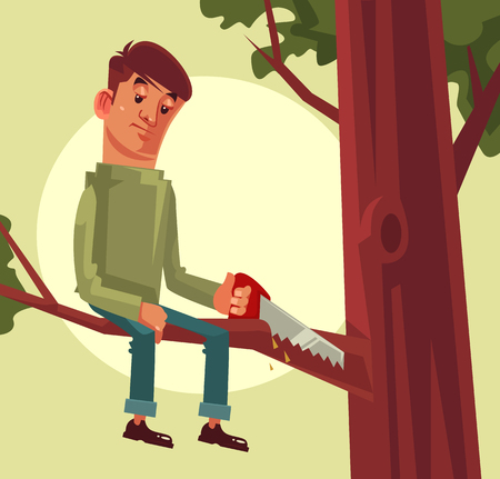 Do not cut branch you sitting proverb concept. Vector flat cartoon illustration Çizim