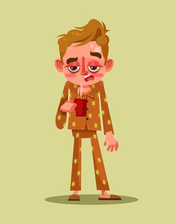 Sleepy tired man character. Early morning Monday. Vector flat cartoon illustration Illustration