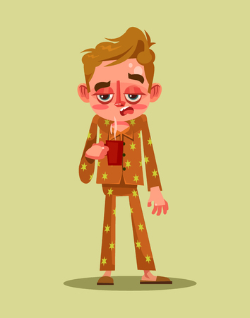 Sleepy tired man character. Early morning Monday. Vector flat cartoon illustration Çizim