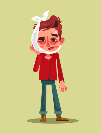Sad unhappy man. Vector flat cartoon illustration Çizim