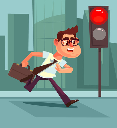 Busy man pedestrian character. Vector flat cartoon illustration Vectores