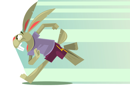 Rabbit character mascot running. Vector flat cartoon illustration Illustration