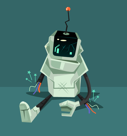 Broken robot character. Error web page concept. Vector flat cartoon illustration Ilustração