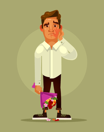 Unsuccessful bad date concept. Vector flat cartoon illustration 向量圖像