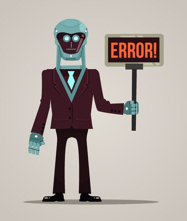 Robot character mascot hold banner error. Vector flat cartoon illustration