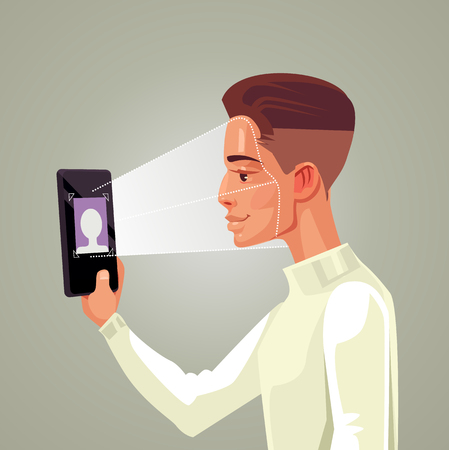 Facial recognition smart phone concept. Man character hold gadget. Vector flat cartoon illustration