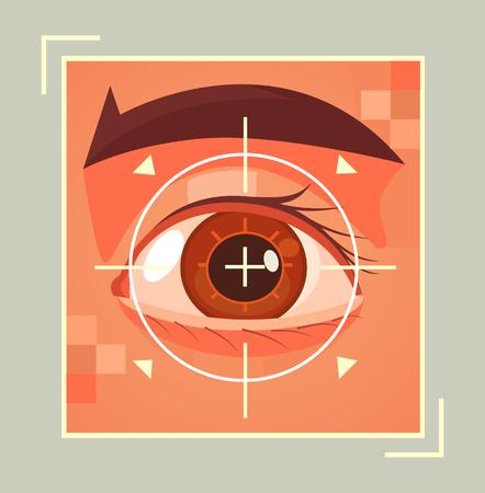 Scanning of retina. Vector flat cartoon illustration Stock Illustratie