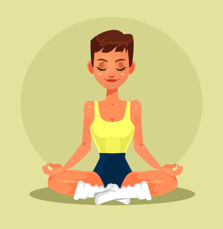 Calm woman character sitting in lotus pose. Vector flat cartoon illustration