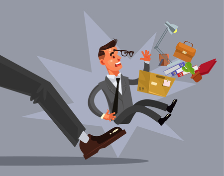 Sad unhappy looser fired man character from work. Vector flat cartoon illustration