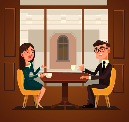 Two colleagues friends having break and drinking coffee. Vector flat cartoon illustration