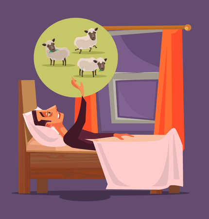 Man character can not sleep and count sheep. Insomnia concept. Vector flat cartoon illustration Illusztráció