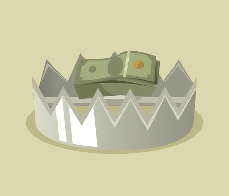 Trap with money. Vector flat cartoon illustration Illustration
