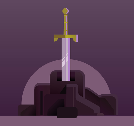 Sword in the stone. Vector flat cartoon illustration Ilustracja
