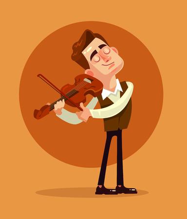 ヴァイオリニスト演奏。ベクターフラット漫画のイラスト
