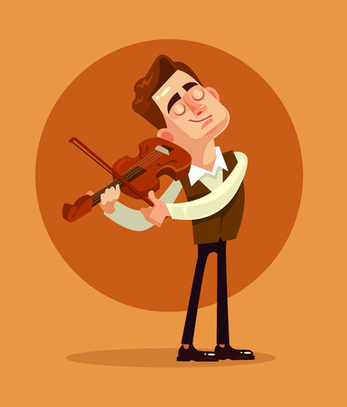 Violinist playing. Vector flat cartoon illustration