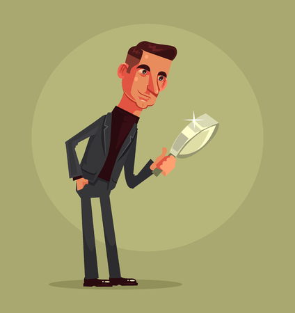 Man office worker character searching with magnifier vector flat cartoon illustration Çizim