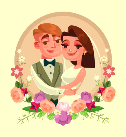 Wedding portrait in flowers frame. Vector flat cartoon illustration