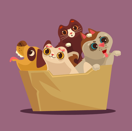 Box with animals. Adoption concept. Vector flat cartoon illustration