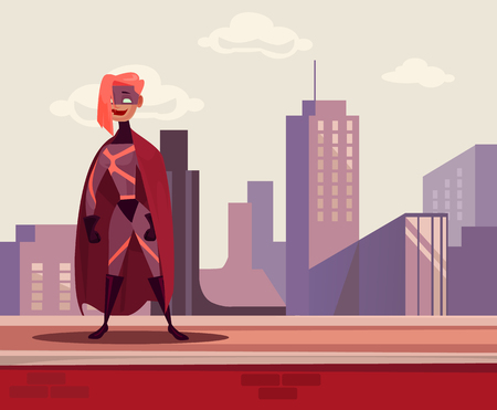 Super woman hero character standing on the roof. Vector flat cartoon illustration