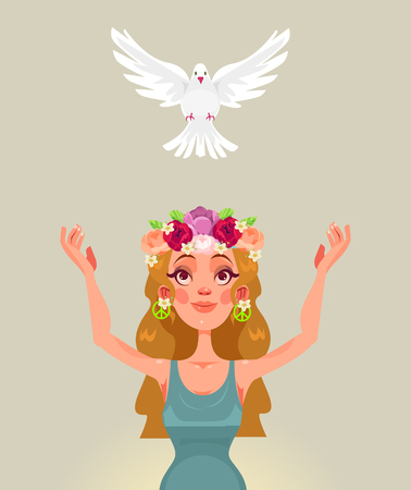 Woman character releases dove of the world. Vector flat cartoon illustration Reklamní fotografie - 96675883