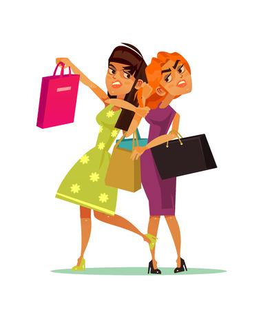 Pelea de personajes de dos mujeres. Ilustración de dibujos animados plano de vector Ilustración de vector