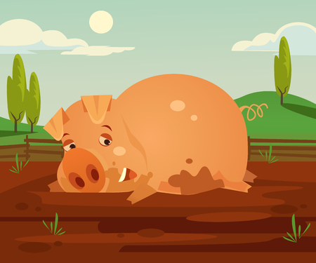 Happy smiling pig character. Vector cartoon illustration