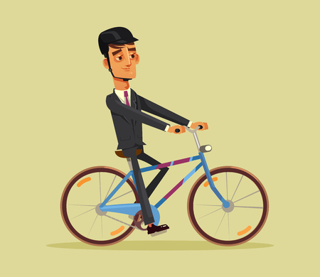 Happy smiling man office worker going to work on bicycle. Vector flat cartoon illustration