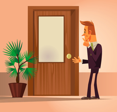 Confusion office worker man character standing by closed door and thinking. Vector flat cartoon illustration