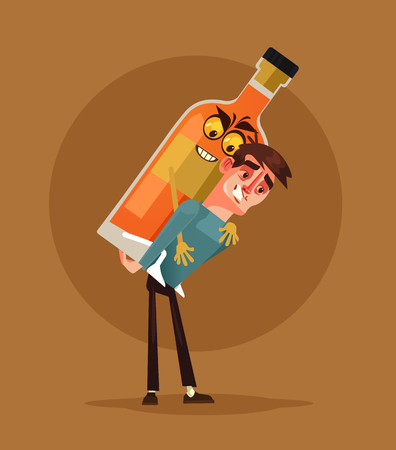 Drunk alcoholic man. Alcoholism concept. Vector cartoon illustration