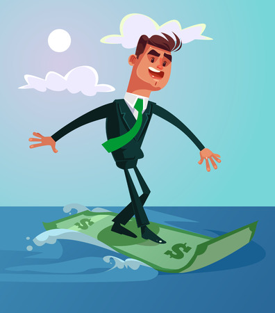 Happy smiling successful office worker. Vector cartoon illustration